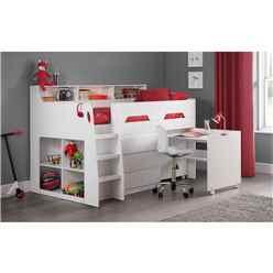 White Space Saver Midsleeper Cabin Bed 3ft (90cm) - Best Seller