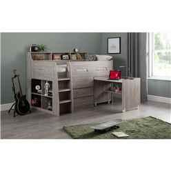 Grey Oak Space Saver Midsleeper Cabin Bed 3ft (90cm) - Best Seller