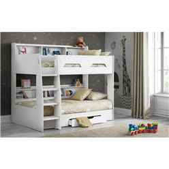 Pure White Book Case Bunk Bed 3ft (90cm) - Best Seller