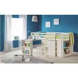Stone White Practical Mid Sleeper Childrens Bed Frame - Single 3ft (90cm)