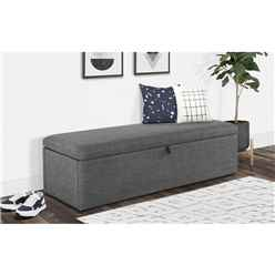 Premium Slate Grey Fabric Blanket Box