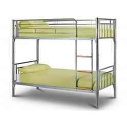 Modern Aluminium Finish Metal Bunk Bed 2 x 3ft (90cm) - Free Next Day UK Delivery*
