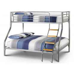 Modern Aluminium Metal Finish Triple Sleeper Bunk Bed - 90cm + 135cm - Free Next Day UK Delivery*