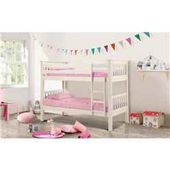 Premium Stone White Finish Shaker Style Bunk Bed 2 x 3ft (90cm) - Free Next Day UK Delivery* - Best Seller