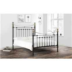 "Victorian Style Black & Gold High End Bed Frame - Double 4ft 6"" (135cm) - Free Next UK Delivery*"
