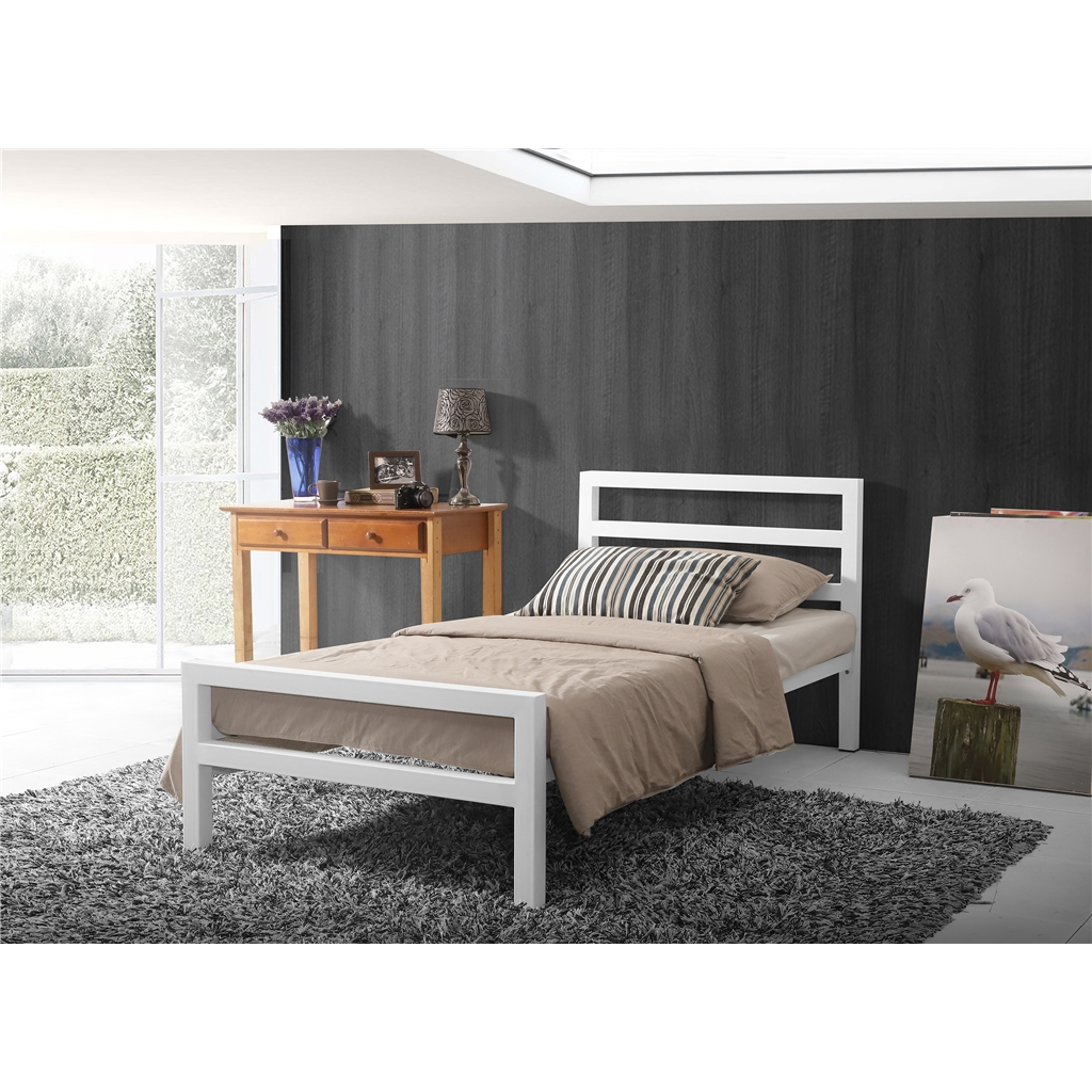 Picture of: Square Tubular White Metal Bed Frame Single 3ft