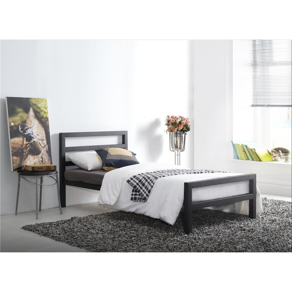 Square Tubular Black Metal Bed Frame Single 3ft
