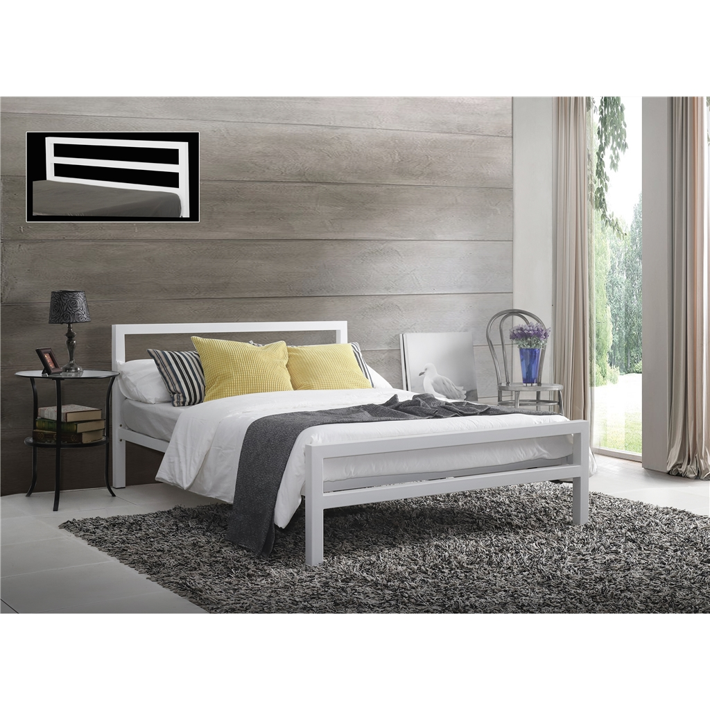 Picture of: Square Tubular White Metal Bed Frame King Size 5ft
