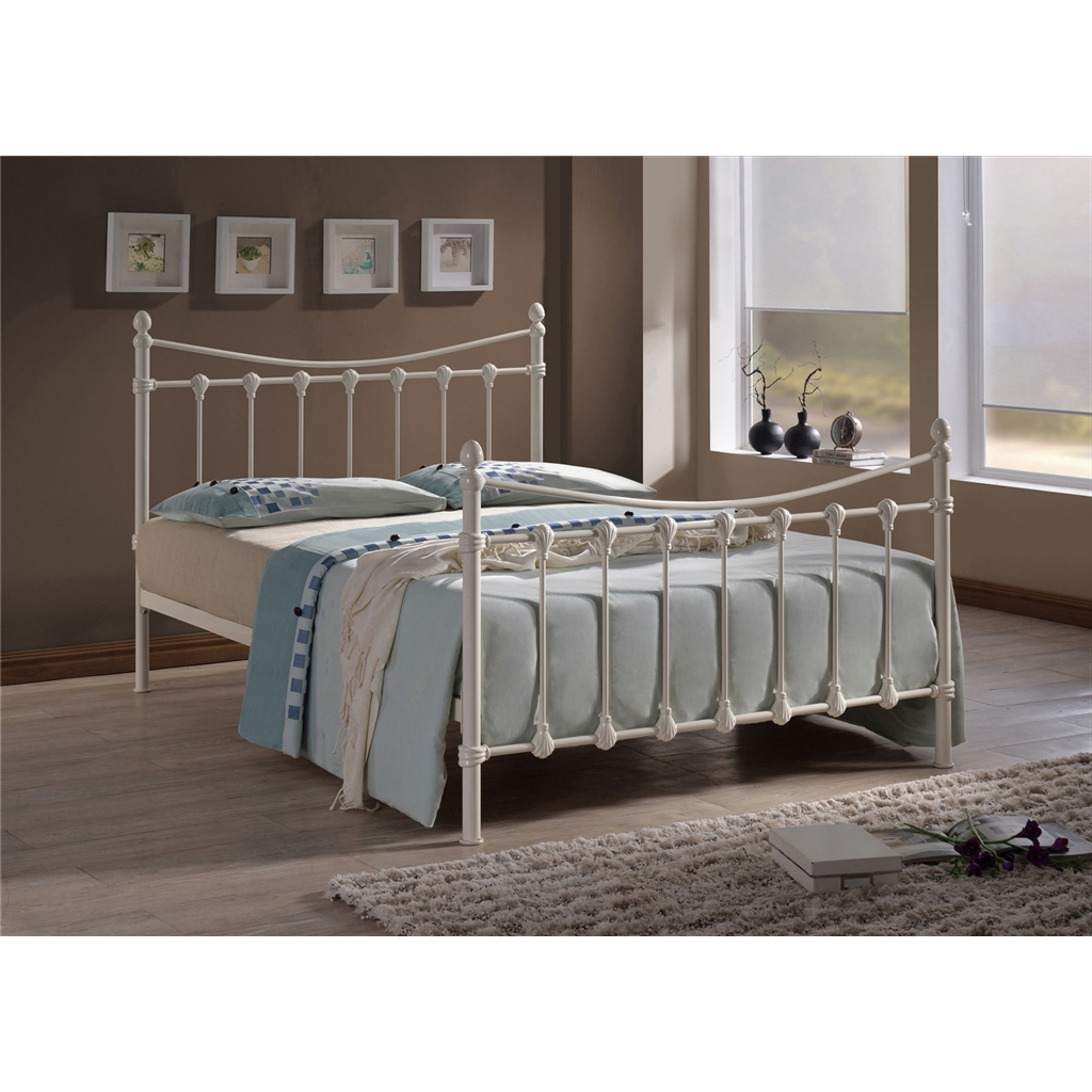Time Living: Ivory Shell Detailed Metal Bed Frame - Single 3ft - Free Next  Day Delivery*