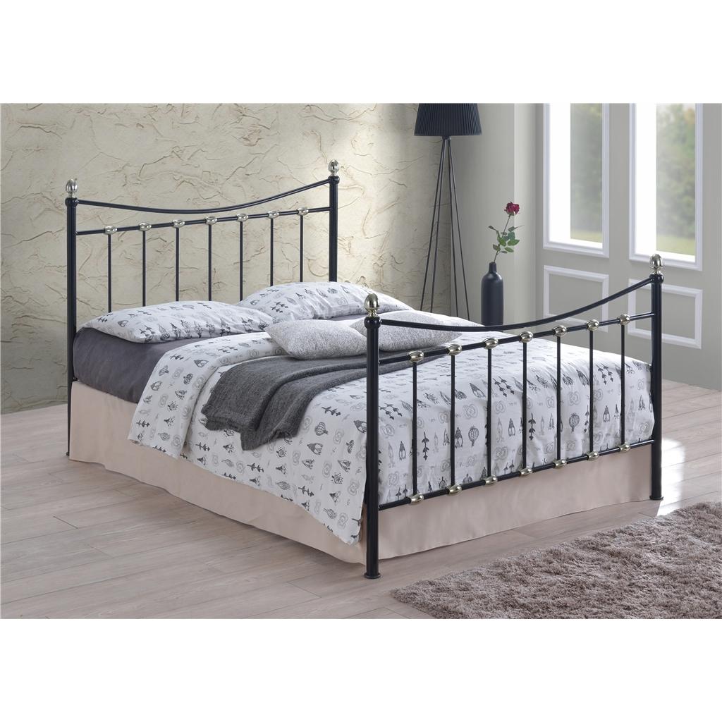 Black silver chrome metal bed frame king size 5ft for King metal bed frame