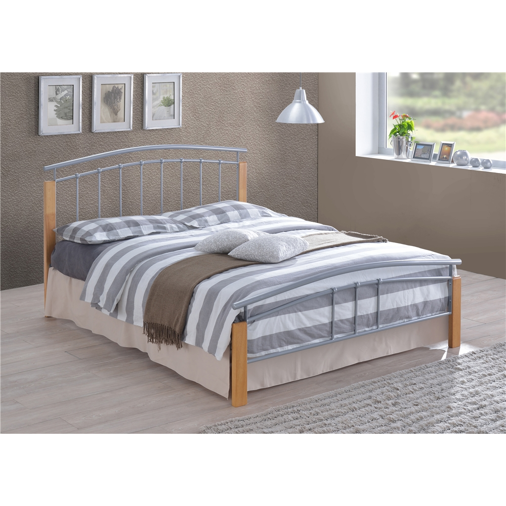 Silver Metal & Beech Bed Frame - Small Double 4ft - Free Next Day ...
