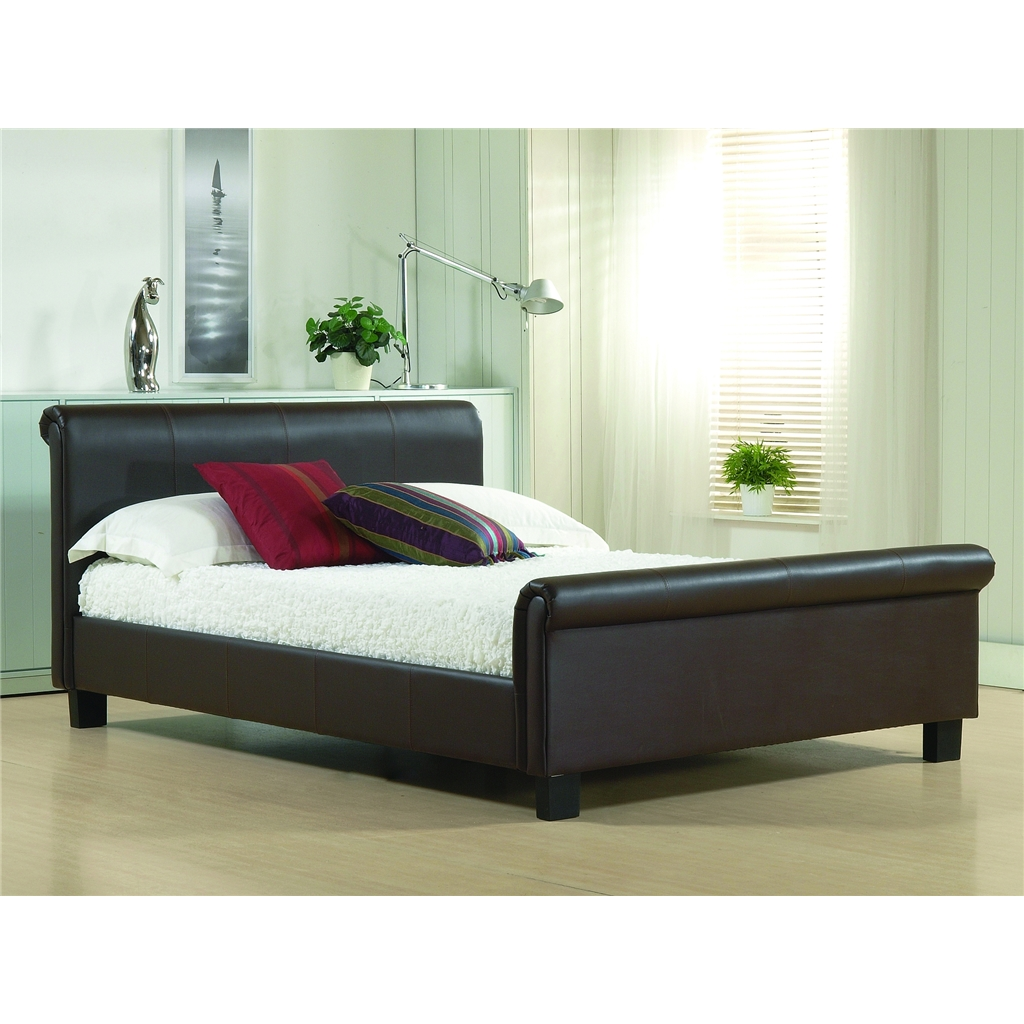 brown real leather sleigh style bed frame king size 5ft. Black Bedroom Furniture Sets. Home Design Ideas
