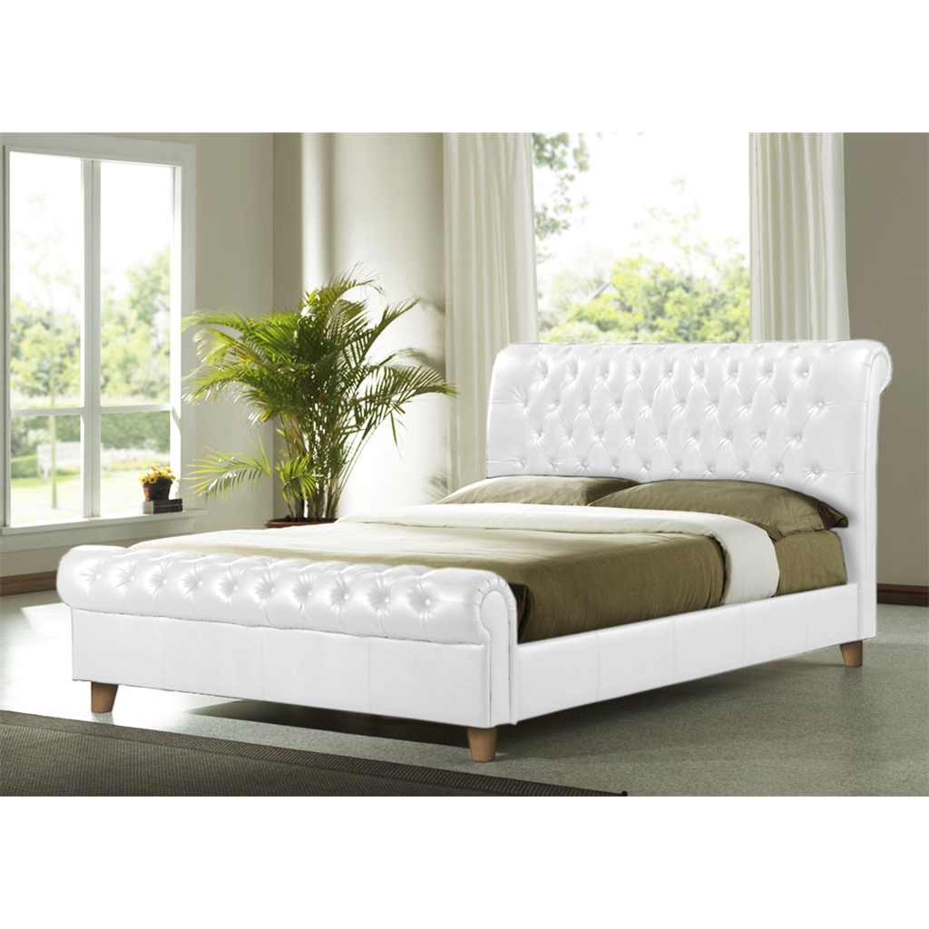 White Faux Leather Bed Frame King Size 5ft