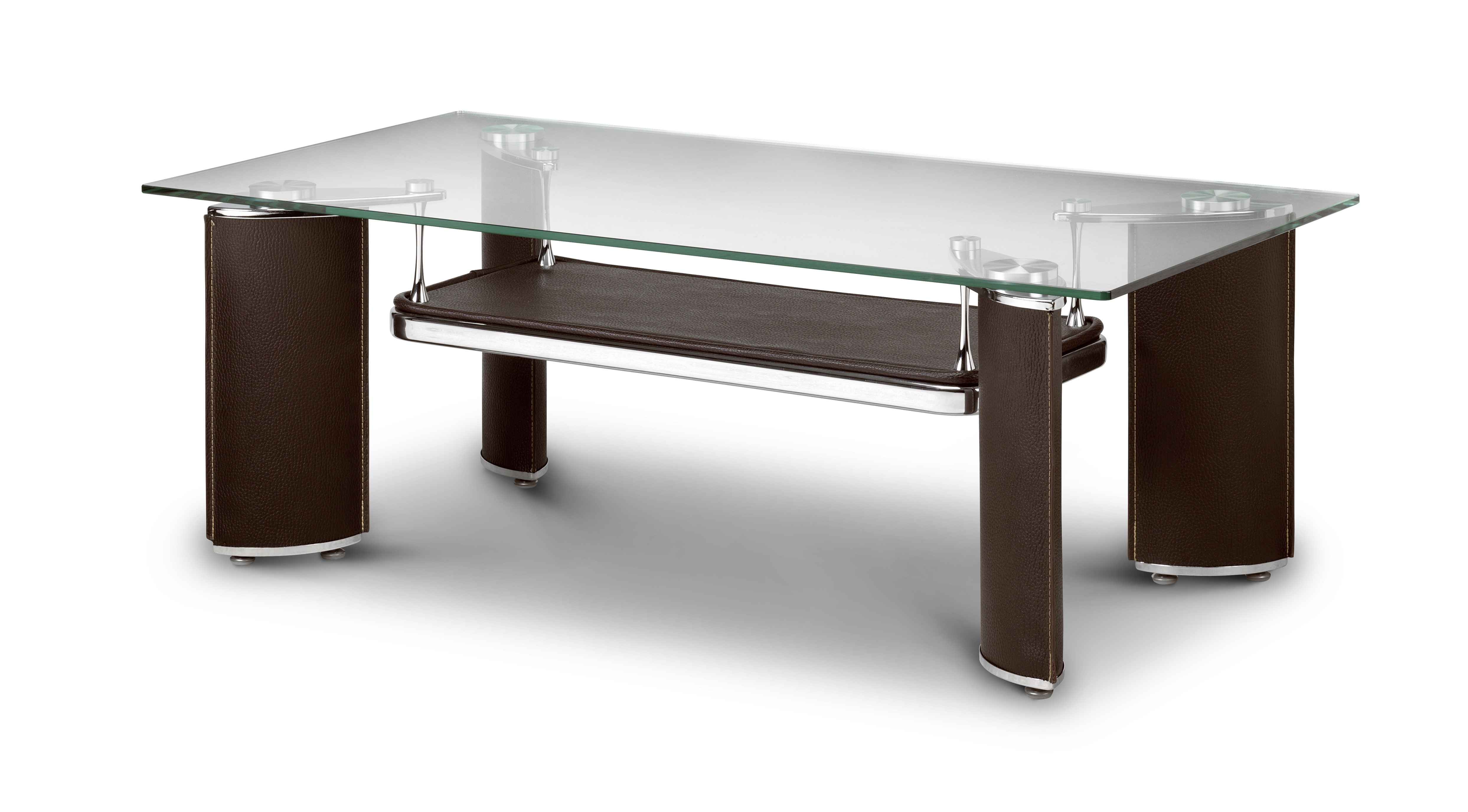 Stylish brown and glass top coffee table for Glass topped coffee tables