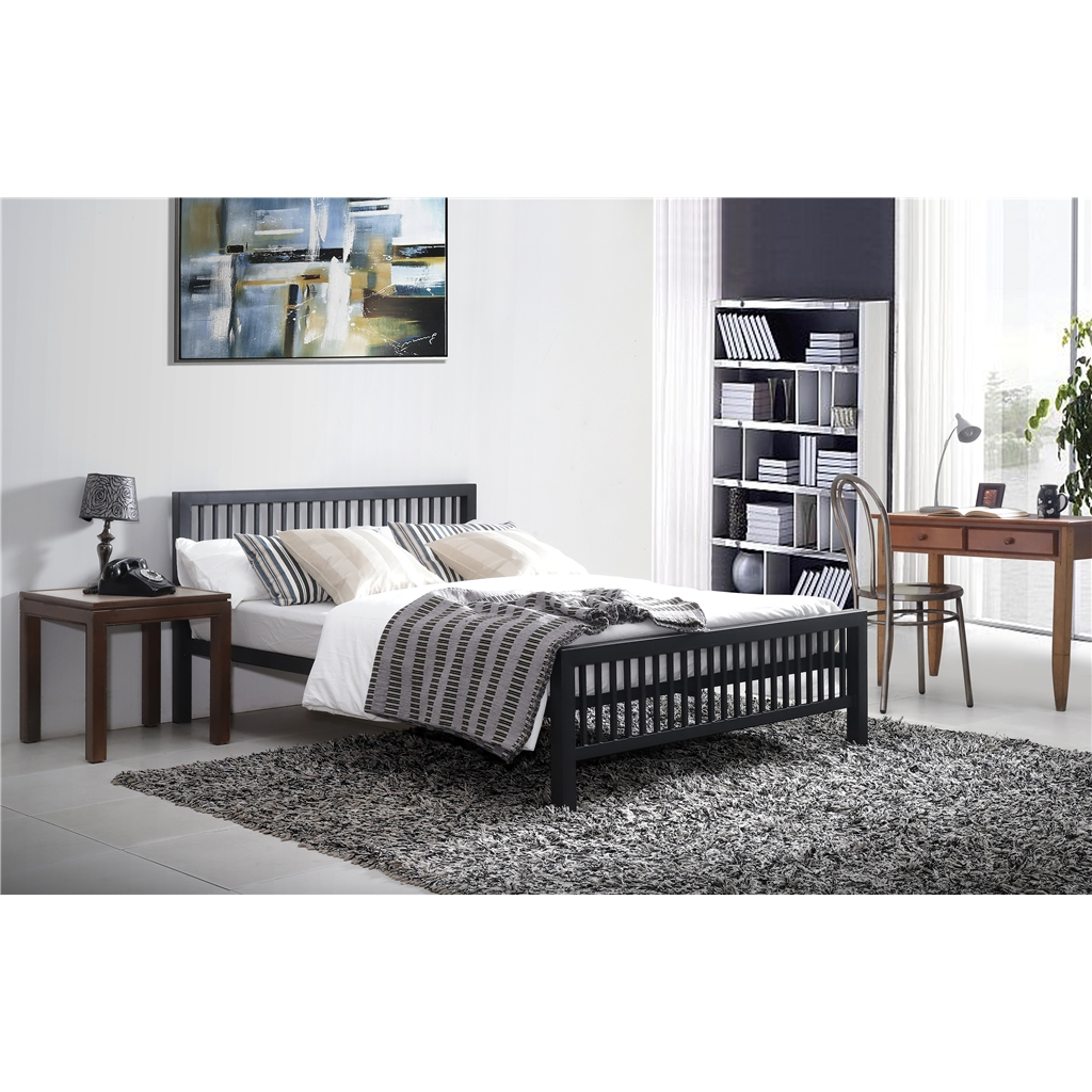 Oriental Shaker Style Black Metal Bed Frame Small Double 4ft