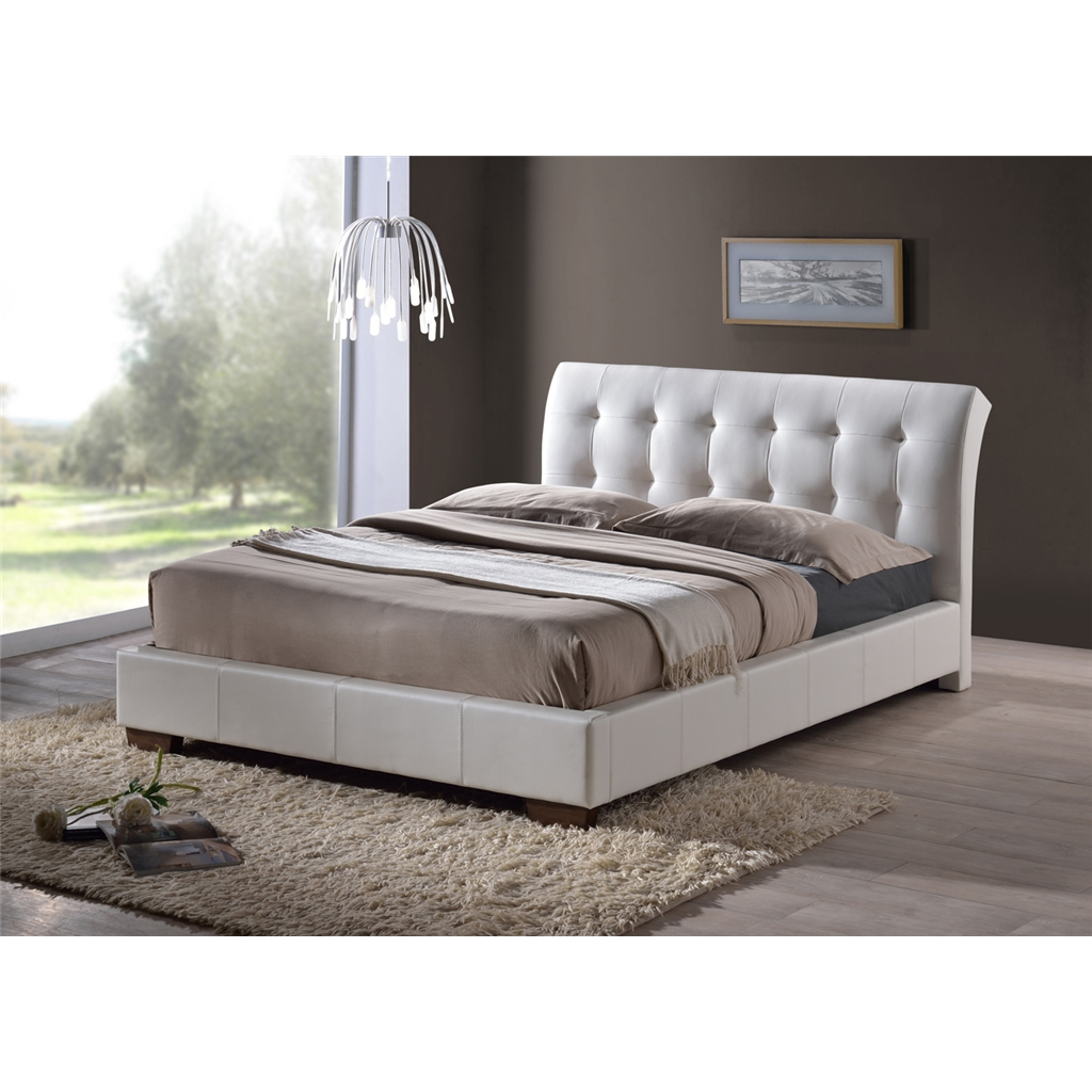 White Modern Design Faux Leather Bed Frame Double 4ft 6 Quot