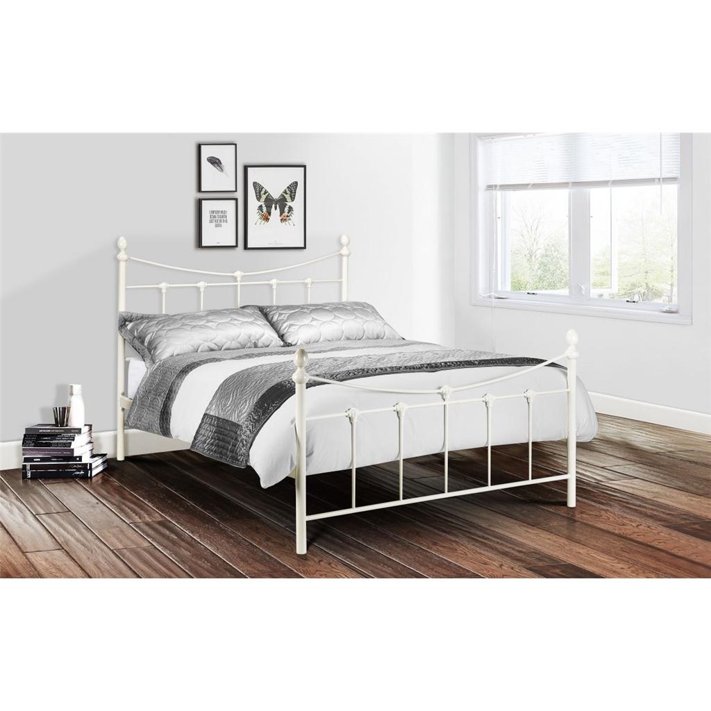 ivory high end metal bed frame double 4ft 6. Black Bedroom Furniture Sets. Home Design Ideas