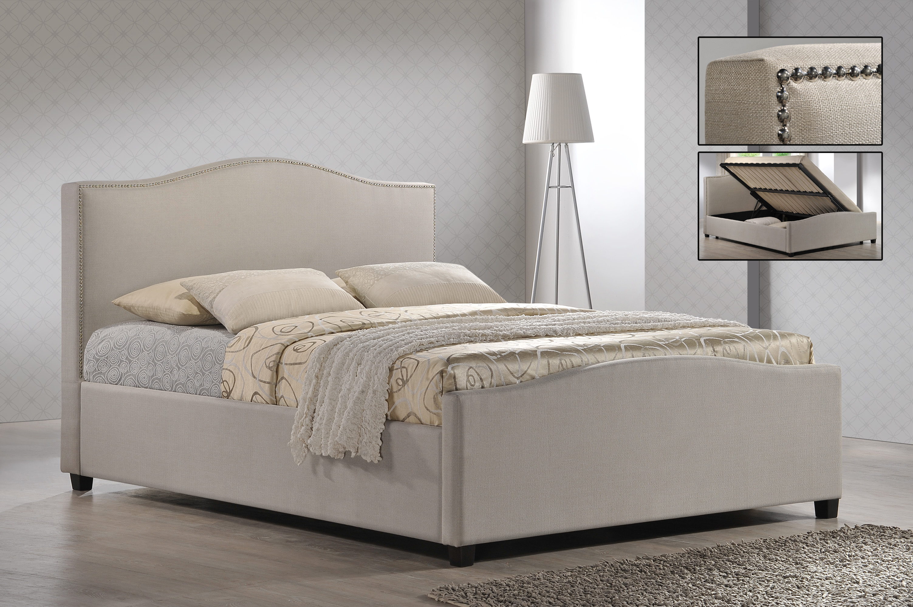 Fine Chrome Studded Sand Fabric Side Ottoman Style Bed Frame Double 4Ft 6 Free Next Day Delivery Gmtry Best Dining Table And Chair Ideas Images Gmtryco