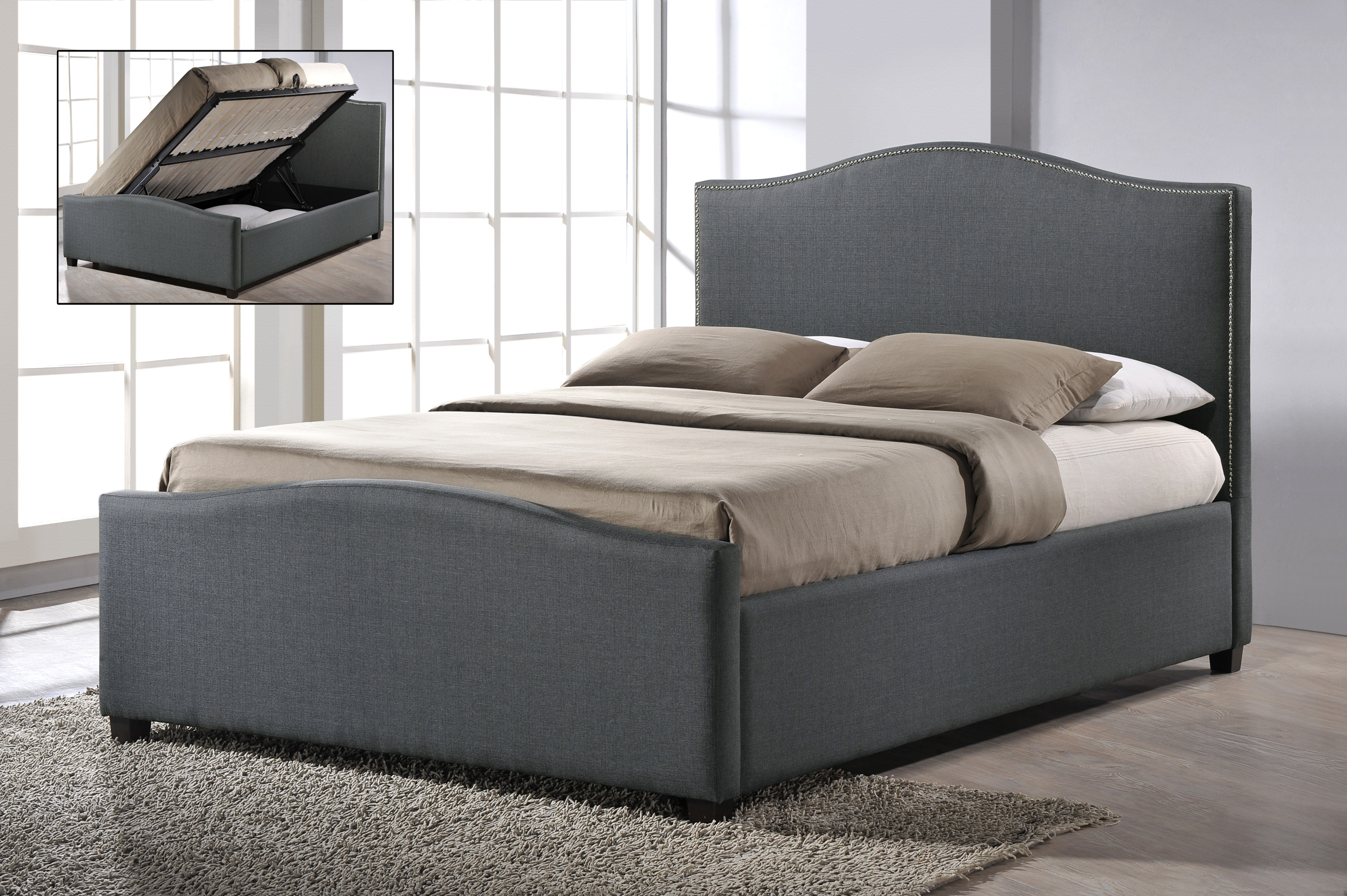 Chrome Studded Grey Fabric Side Ottoman Style Bed Frame