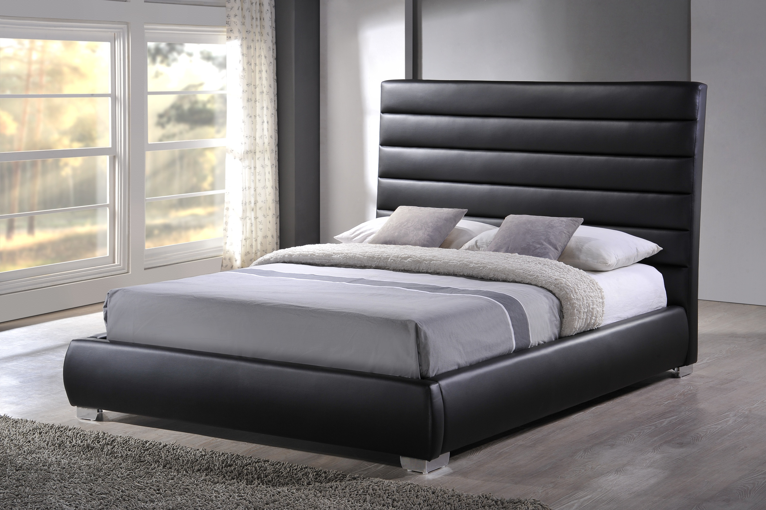 san francisco b269f 016be Black Padded Headboard Faux Leather Bed Frame - Double 4ft 6