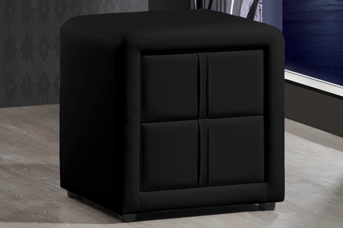 Tl Exclusive Black Designer Faux Leather Bedside Table Free Next Day Delivery