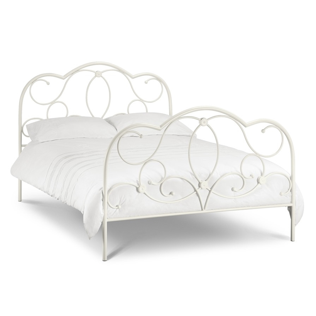 Beautiful Stone White Finish High End Metal Bed Frame