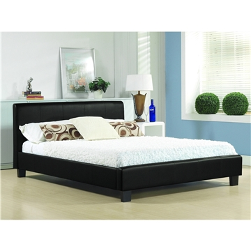 Black Low End Faux Leather Bed Frame