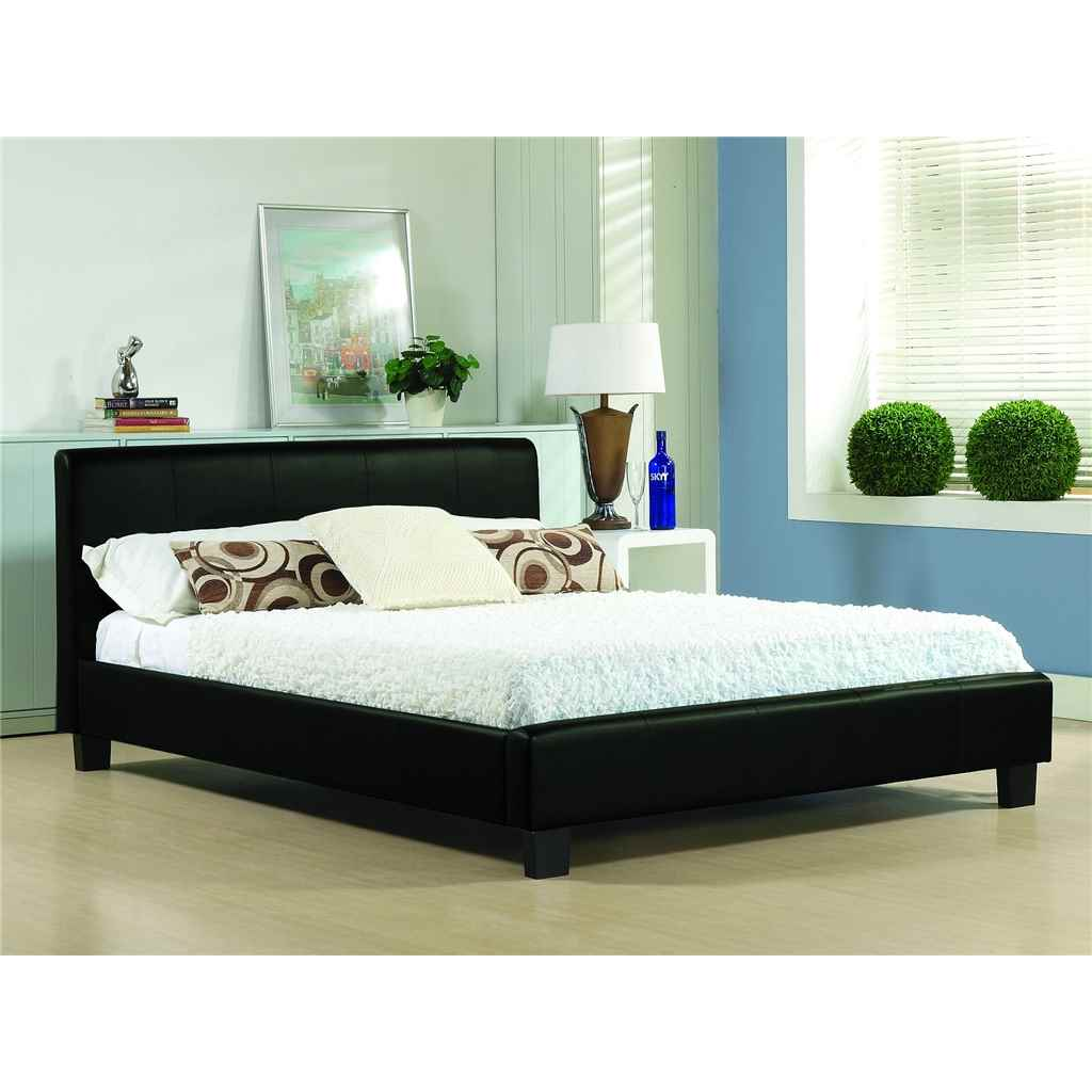 d60fc4f1368 Black Low End Faux Leather Bed Frame - Small Double 4ft