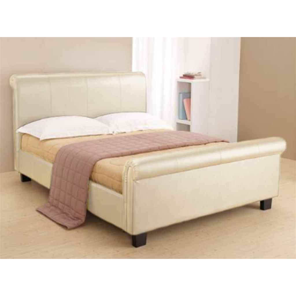 Cream Faux Leather Bed Frame Single 3ft Free Next Day Delivery
