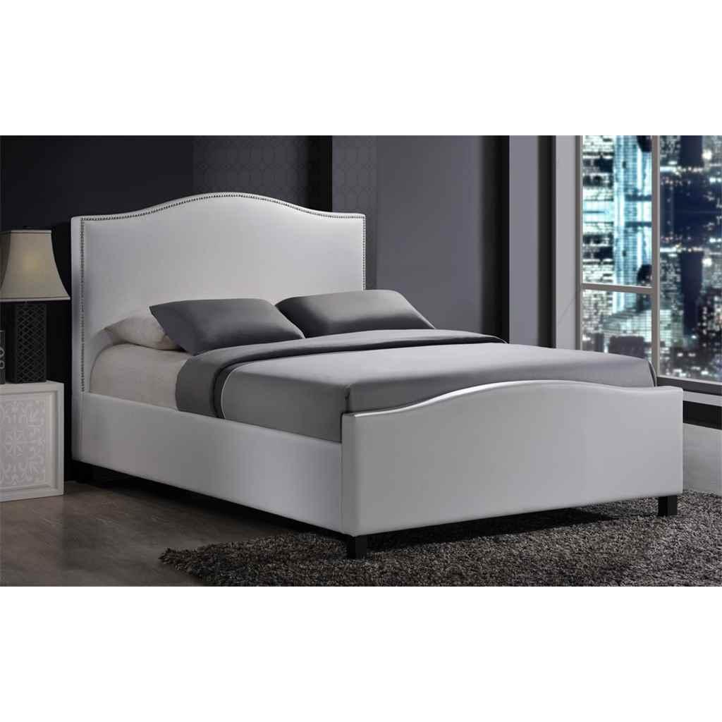 Chrome studded white fabric bed frame king size 5ft for Studded bed frame