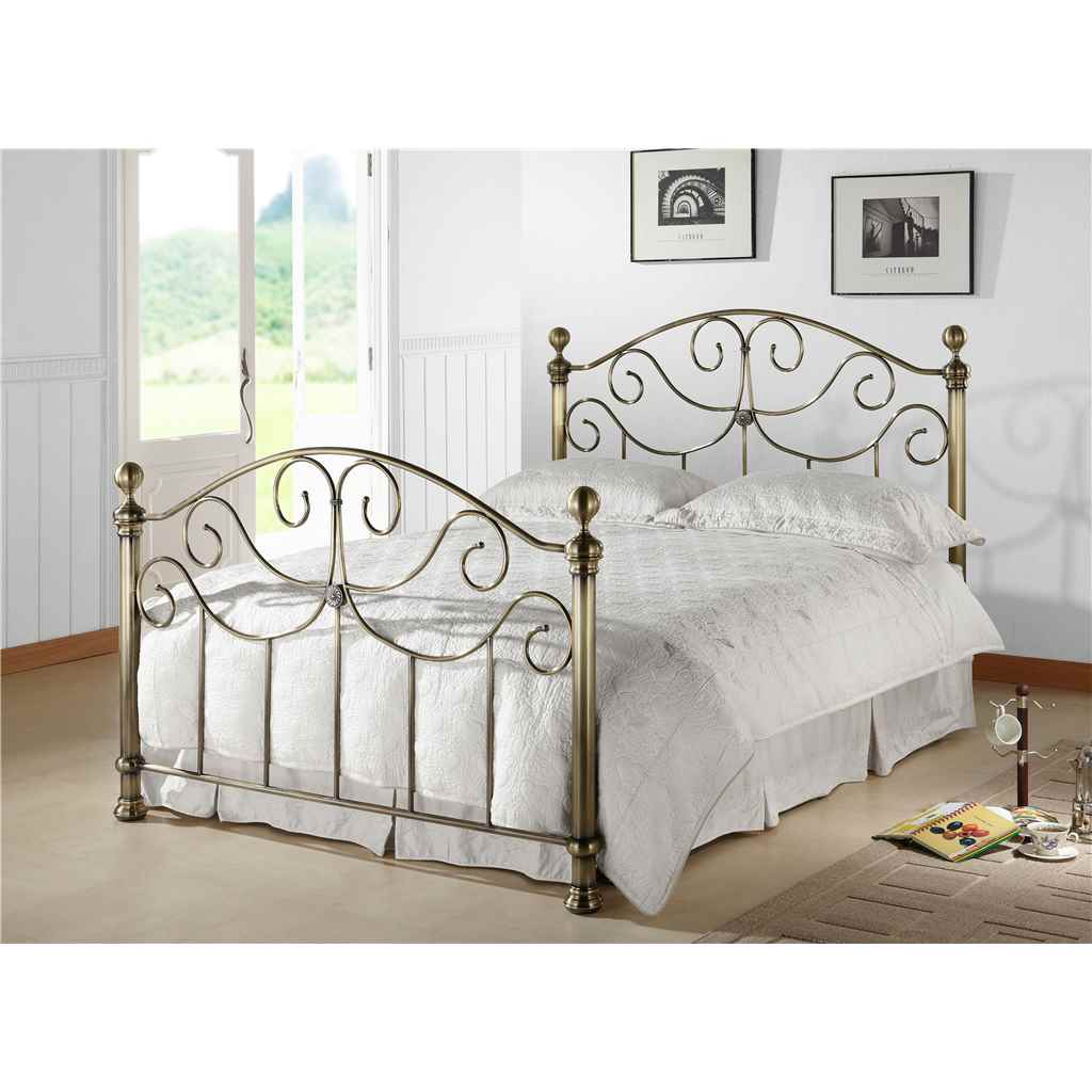 Victorian Style Antique Brass Finished Metal Bed Frame Double 4ft